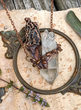 Load image into Gallery viewer, Morel Mushroom Electroformed Necklace with Quartz and Shelf Mushrooms