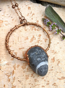 Copper Electroformed Welsh Beach Pebble Worry Stone Necklace
