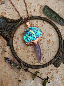 Abalone and Amethyst Mushroom Electroformed Necklace