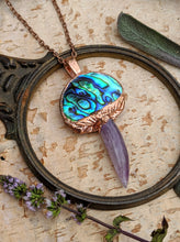 Load image into Gallery viewer, Abalone and Amethyst Mushroom Electroformed Necklace