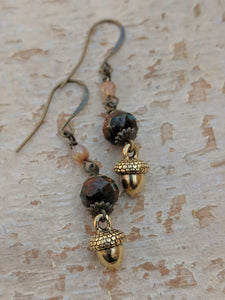 Brass Acorn Earrings