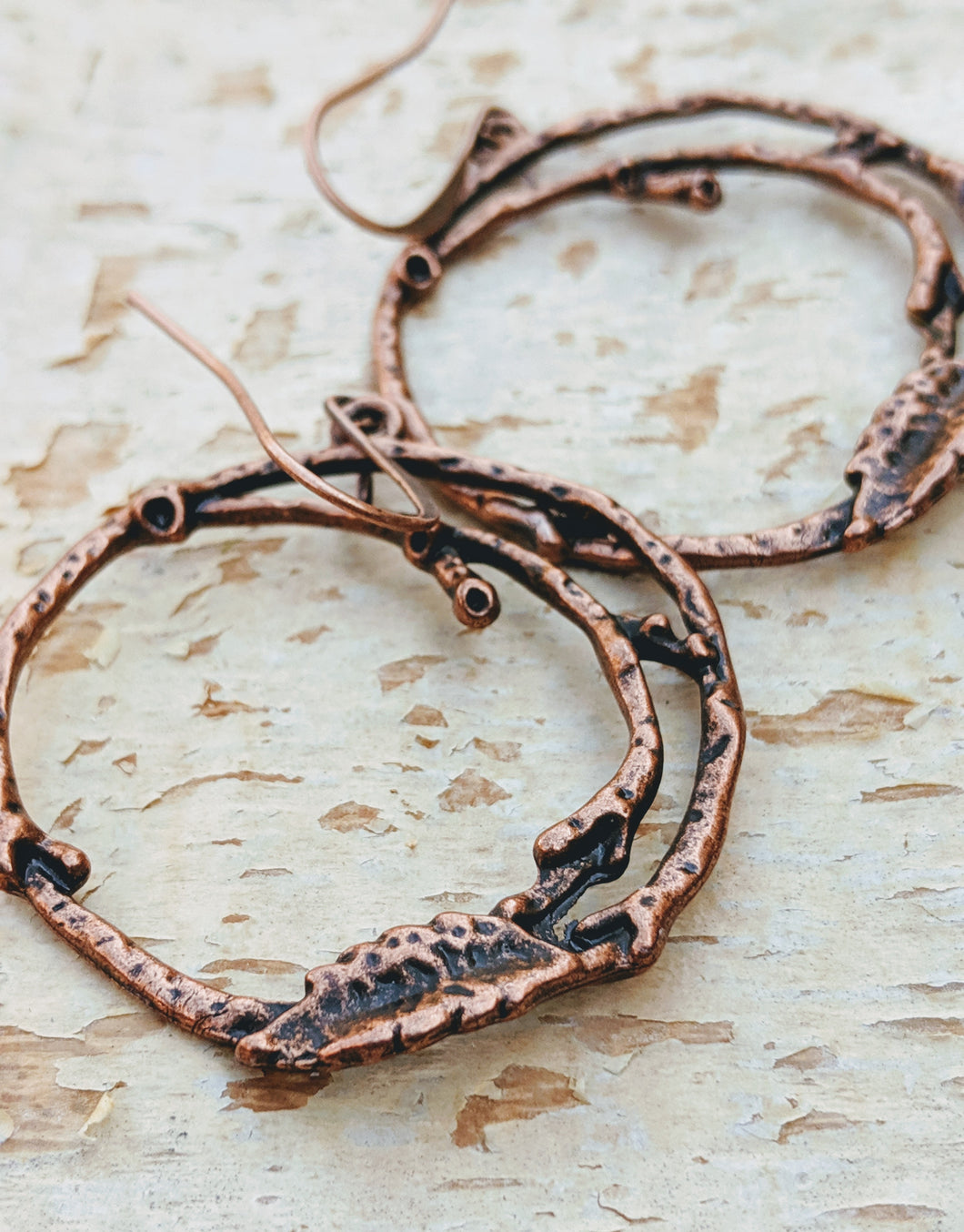 Copper Branch Hoop Earrings - Minxes' Trinkets