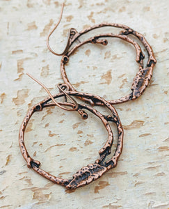 Copper Branch Hoop Earrings