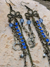 Load image into Gallery viewer, Blue Romance - Shoulder Duster Earrings - Minxes' Trinkets