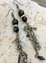Load image into Gallery viewer, Paint It Black - Kuchi Dangle Earrings - Minxes' Trinkets