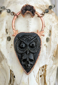 Electroformed Skull and Owl Bone Planchette Necklace - Minxes' Trinkets