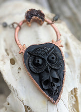 Load image into Gallery viewer, Electroformed Skull and Owl Bone Planchette Necklace - Minxes' Trinkets