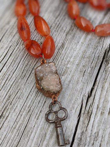 Electroformed Druzy with Skeleton Key and Carnelian - Minxes' Trinkets