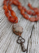 Load image into Gallery viewer, Electroformed Druzy with Skeleton Key and Carnelian - Minxes' Trinkets