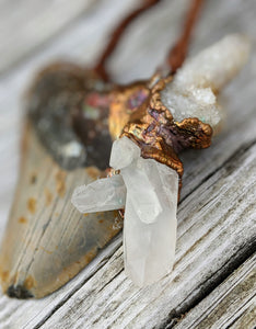 Electroformed Megalodon Shark Tooth with Quartz Clusters - Minxes' Trinkets