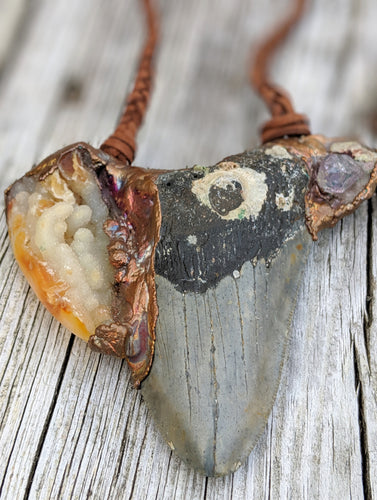 Electroformed Megalodon Shark Tooth with Druzy and Amethyst - Minxes' Trinkets