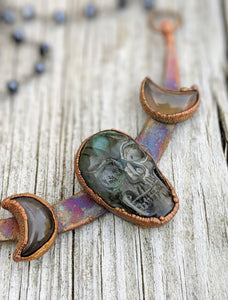 Electroformed Labradorite Skull and Moons - Teal Green
