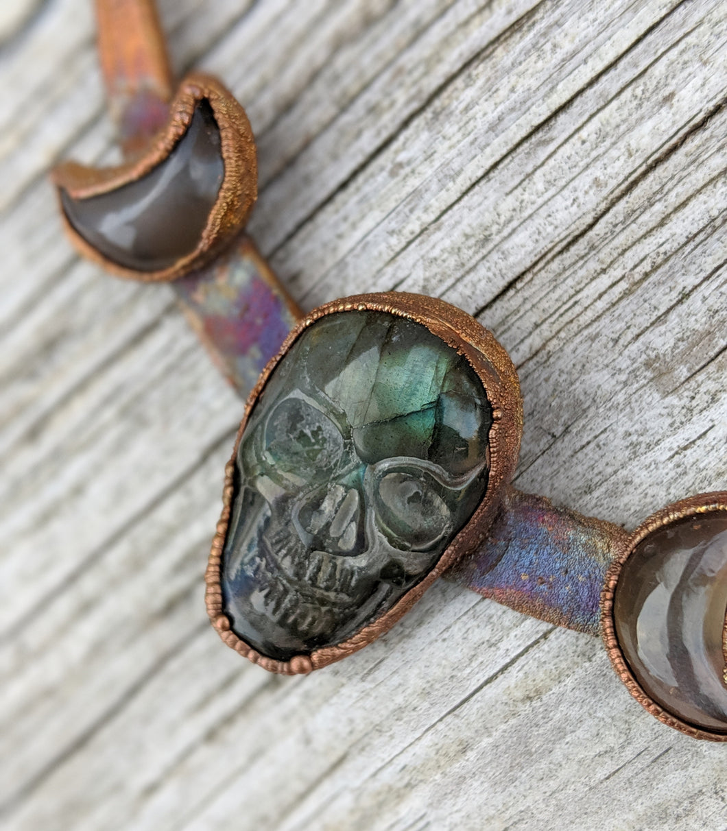 Electroformed Labradorite Skull and Moons - Teal Green - Minxes' Trinkets
