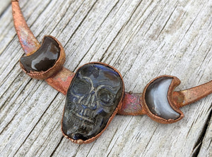Electroformed Labradorite Skull and Moons - Blue - Minxes' Trinkets