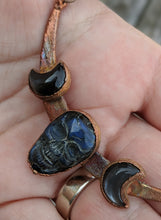 Load image into Gallery viewer, Electroformed Labradorite Skull and Moons - Blue - Minxes' Trinkets