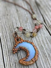 Load image into Gallery viewer, Electroformed Opalite Moon Necklace with Tourmaline - Minxes' Trinkets