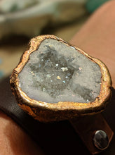 Load image into Gallery viewer, Leather Cuff with Electroformed White Druzy