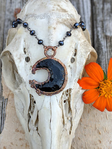 Electroformed Obsidian Moon Necklace - Minxes' Trinkets