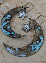 Load image into Gallery viewer, Verdigris Moon and Silver Star Earrings - Minxes' Trinkets