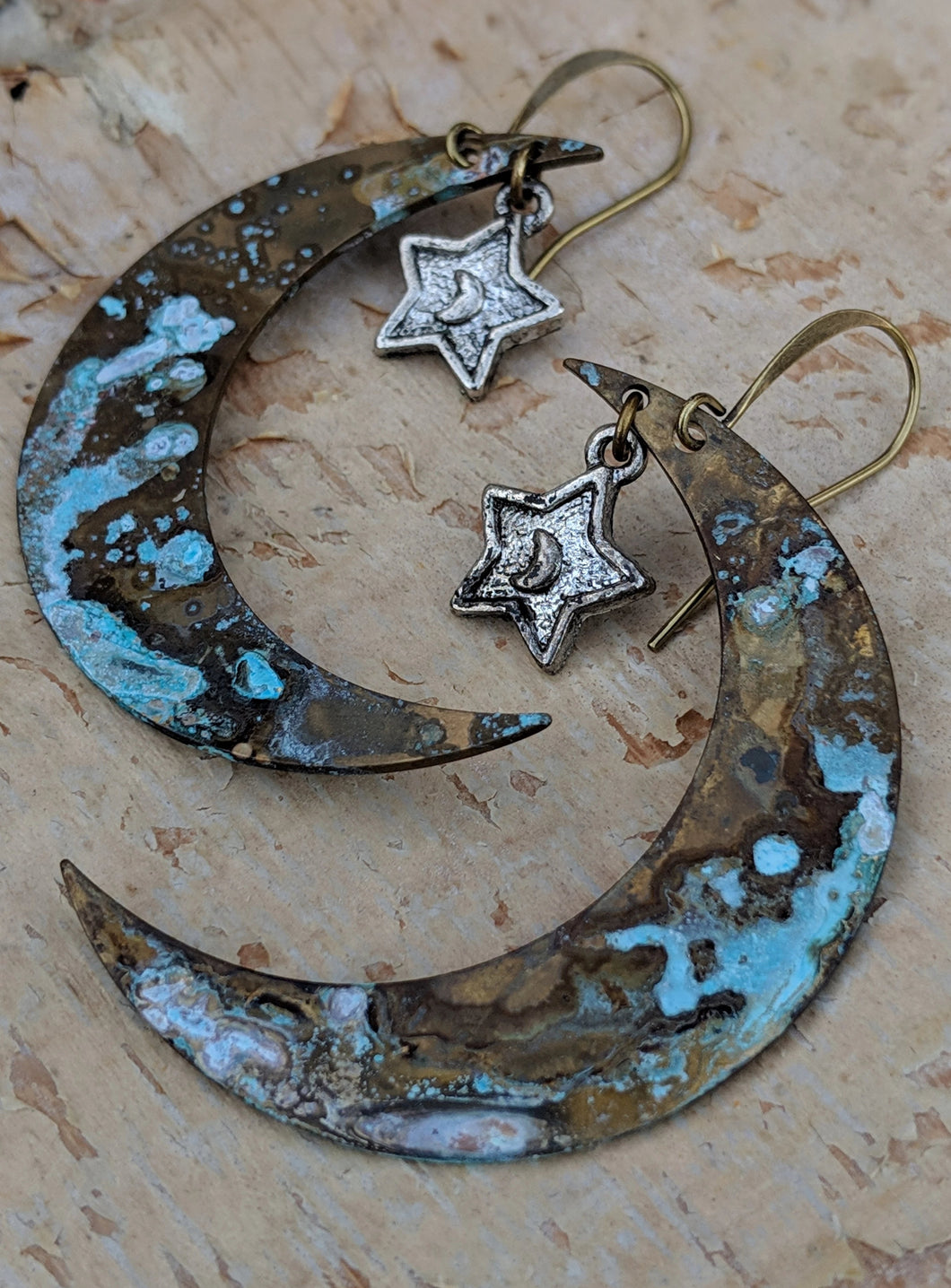 Verdigris Moon and Silver Star Earrings - Minxes' Trinkets
