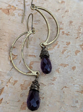 Load image into Gallery viewer, Open Moon Earrings with Purple Glass Briolettes - Minxes' Trinkets