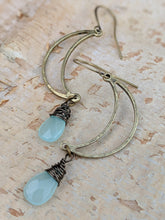 Load image into Gallery viewer, Open Moon Earrings with Chalcedony Gemstone Briolettes