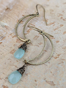 Open Moon Earrings with Chalcedony Gemstone Briolettes