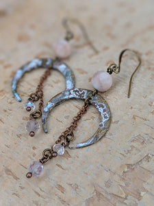 Crescent Moon Earrings with Pink Fluorite - Minxes' Trinkets