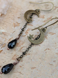 Moon and Star Earrings with Black Glass Briolettes