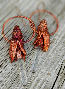 Electroformed Snake Head Blades of Light Earrings