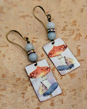 Load image into Gallery viewer, Handmade Vintage Halloween Earrings - Toadstools and Feathers