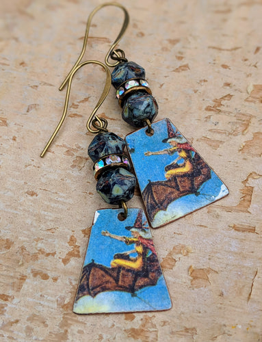 Handmade Vintage Halloween Earrings - Witches