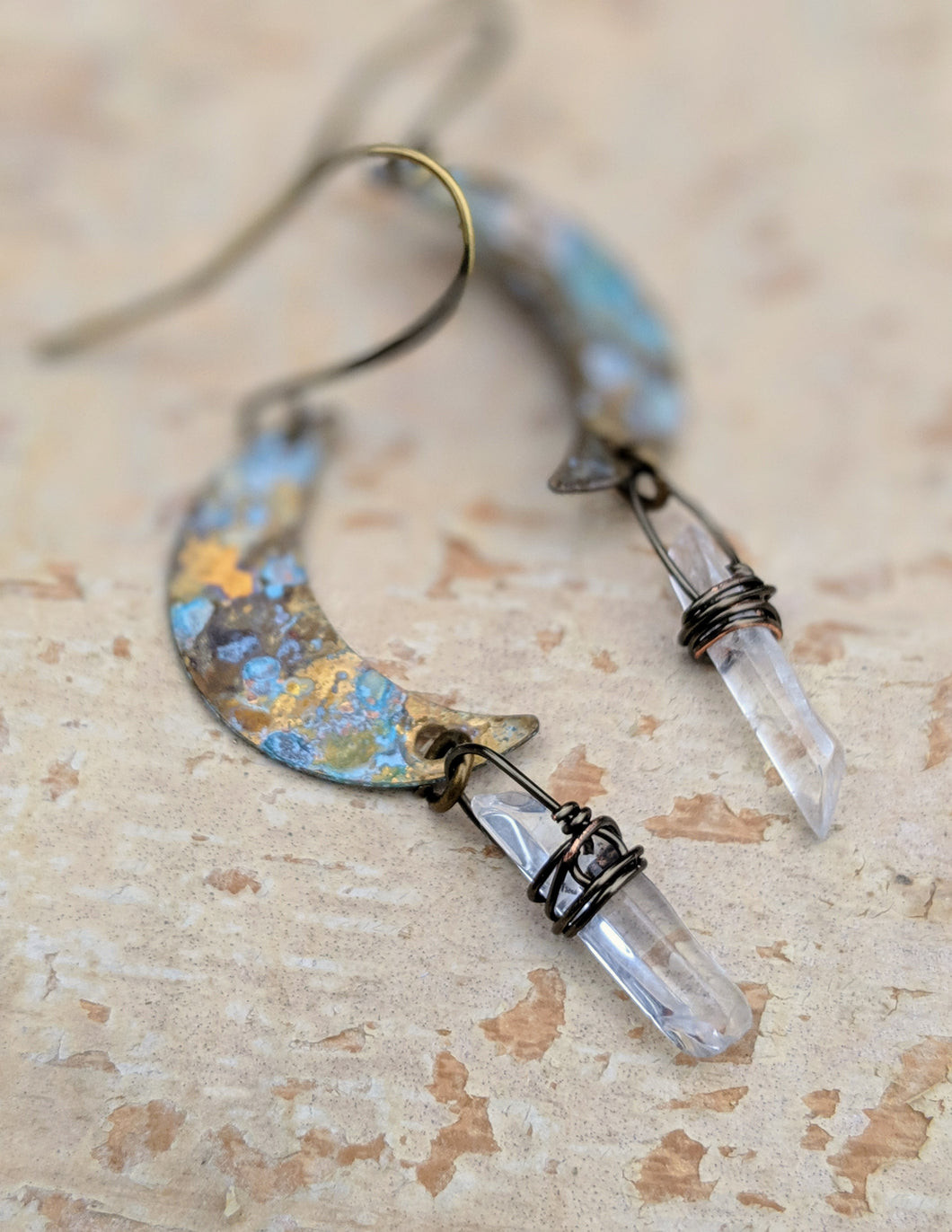 Petite Moon Earrings with Clear Quartz Points - Minxes' Trinkets