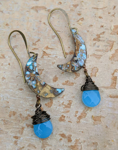 Petite Moon Earrings with Faceted Caribbean Blue Briolettes - Minxes' Trinkets