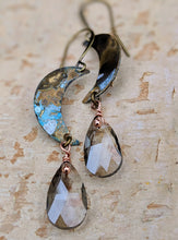 Load image into Gallery viewer, Petite Moon Earrings with Faceted Smokey Briolettes
