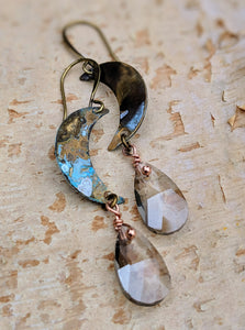 Petite Moon Earrings with Faceted Smokey Briolettes - Minxes' Trinkets
