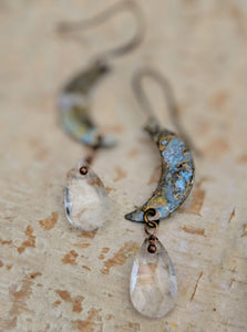 Petite Moon Earrings with Faceted Clear Briolettes - Minxes' Trinkets
