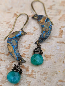 Petite Moon Earrings with Faceted Jade Green Briolettes - Minxes' Trinkets