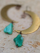 Load image into Gallery viewer, Brass Moon with Chrysoprase Earrings