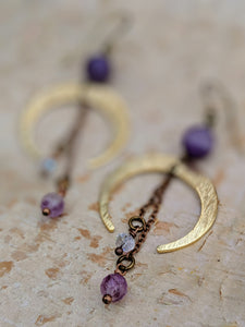 Crescent Moon Earrings with Chevron Amethyst and Purple Flourite - Minxes' Trinkets