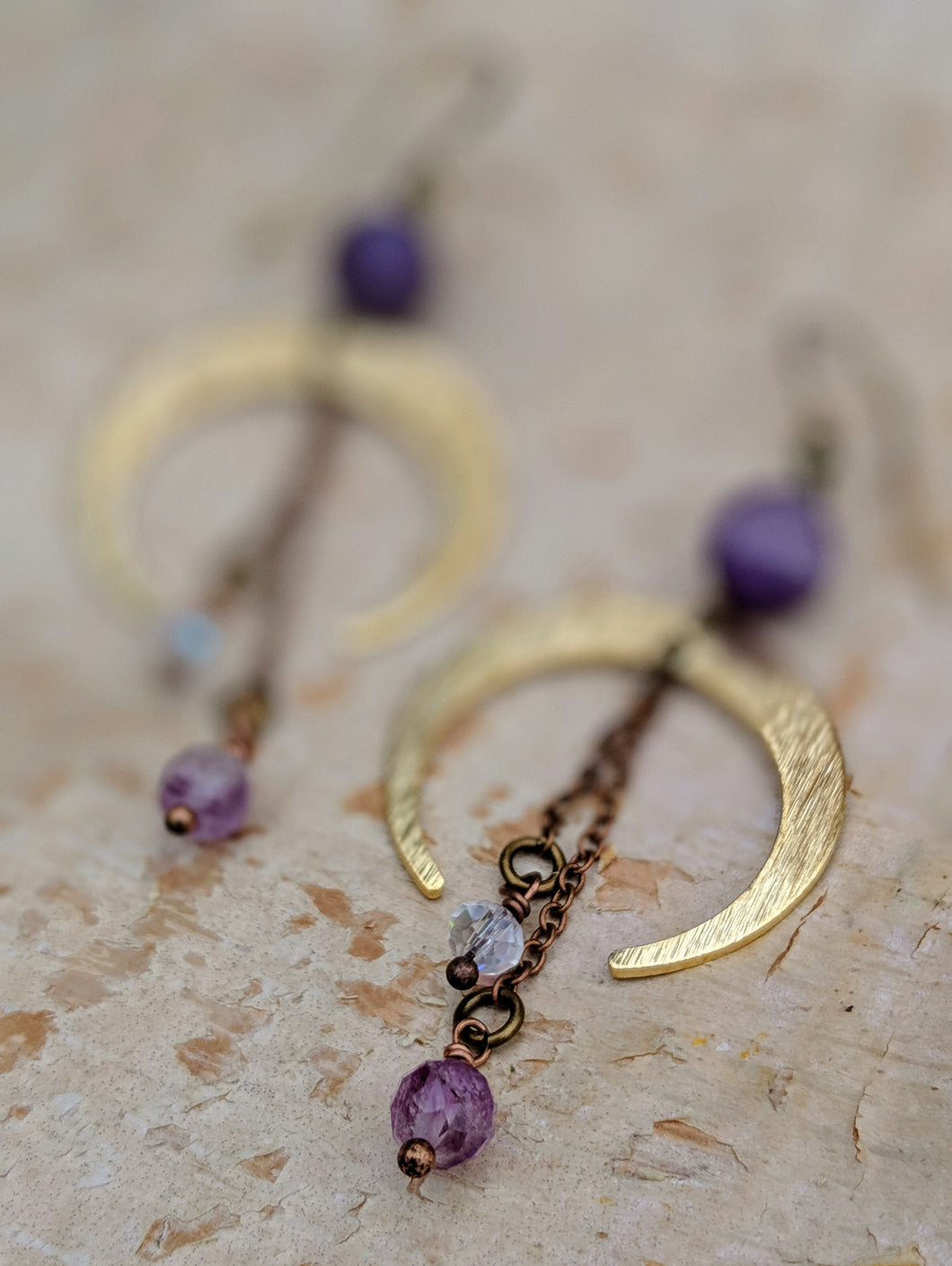 Crescent Moon Earrings with Chevron Amethyst and Purple Flourite