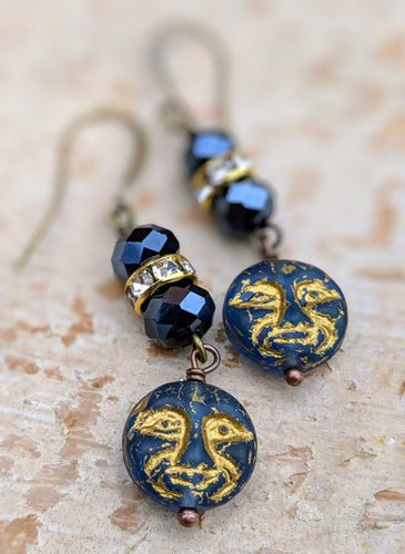 Man in the Moon Earrings - Minxes' Trinkets