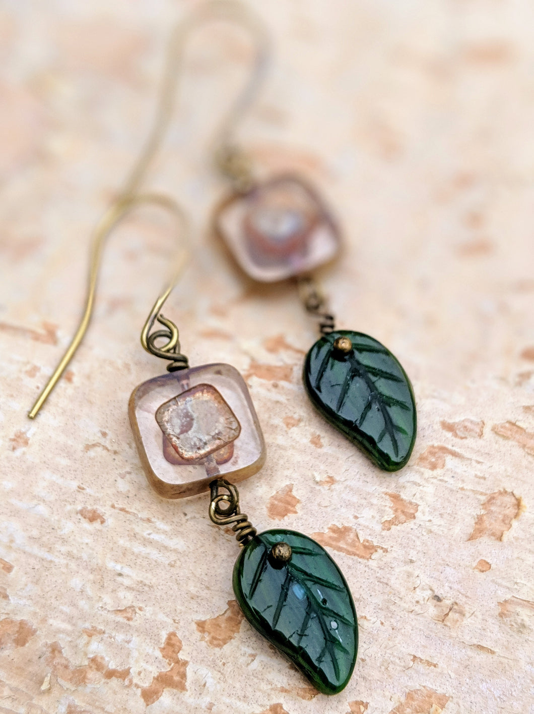 Crisp Mornings - Czech Glass Leaf Earrings - Minxes' Trinkets