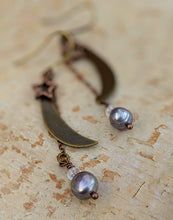 Load image into Gallery viewer, Medium Moon and Star Earrings with Freshwater Pearls