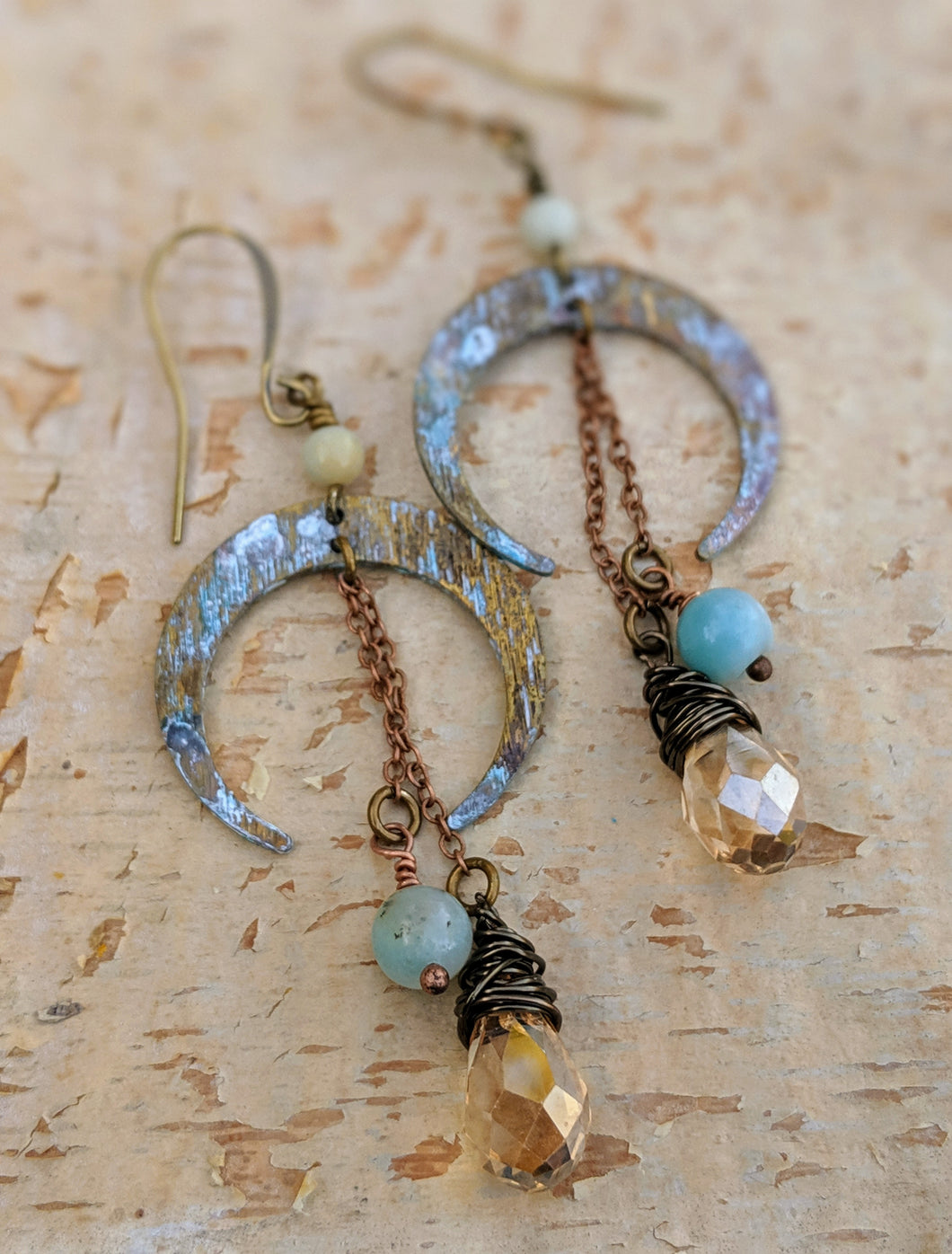 Crescent Moon Earrings with Amazonite - Minxes' Trinkets