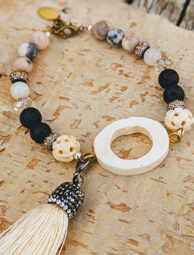 Boho Bone Slice Gemstone Bracelet
