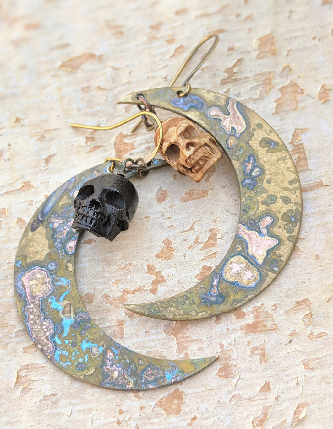 Carved Bone Skull and Big Moon Earrings - Black and White - Minxes' Trinkets