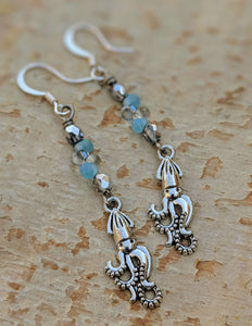 Silvery Squid Earrings - Minxes' Trinkets