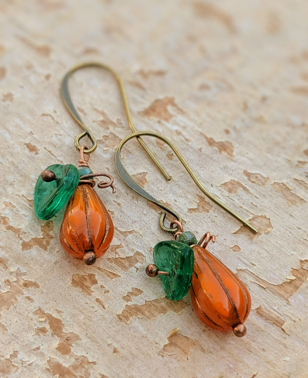 Mini gourd pumpkin earrings - I - Minxes' Trinkets