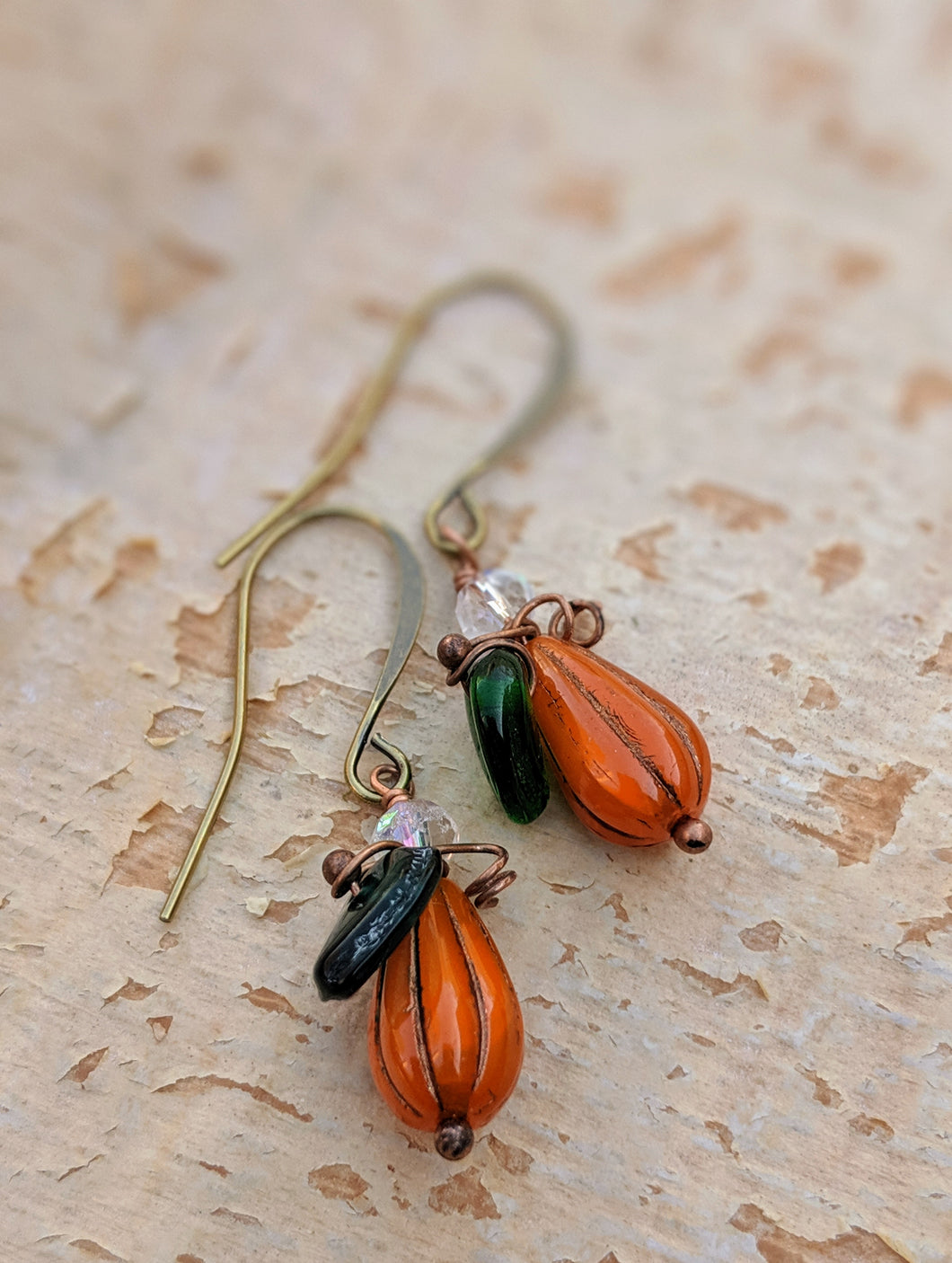 Mini gourd pumpkin earrings - II